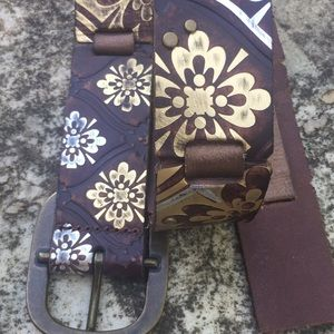 Fossil Belt Painted Leather